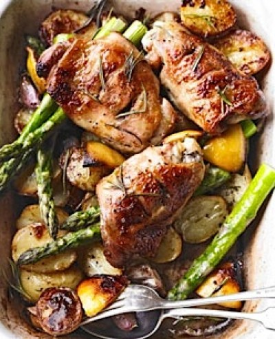ALL-IN-ONE ROASTED CHICKEN THIGHS with ASPARAGUS & BABY POTATOES