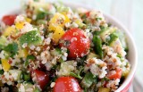 QUINOA TABBOULEH with CUCUMBER RIBBONS,  TOMATOES, MINT & FETA